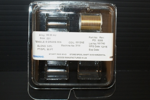 ".001"" gold au bonding wire, 25 micron, half inch spool, in stock"