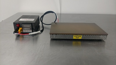 Large hot plate for electronics and RF/Microwave assembly heats to 300c